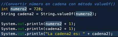 Parsear java con método valueof